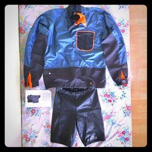 Paddling Jacket + neoprene insulated shorts.